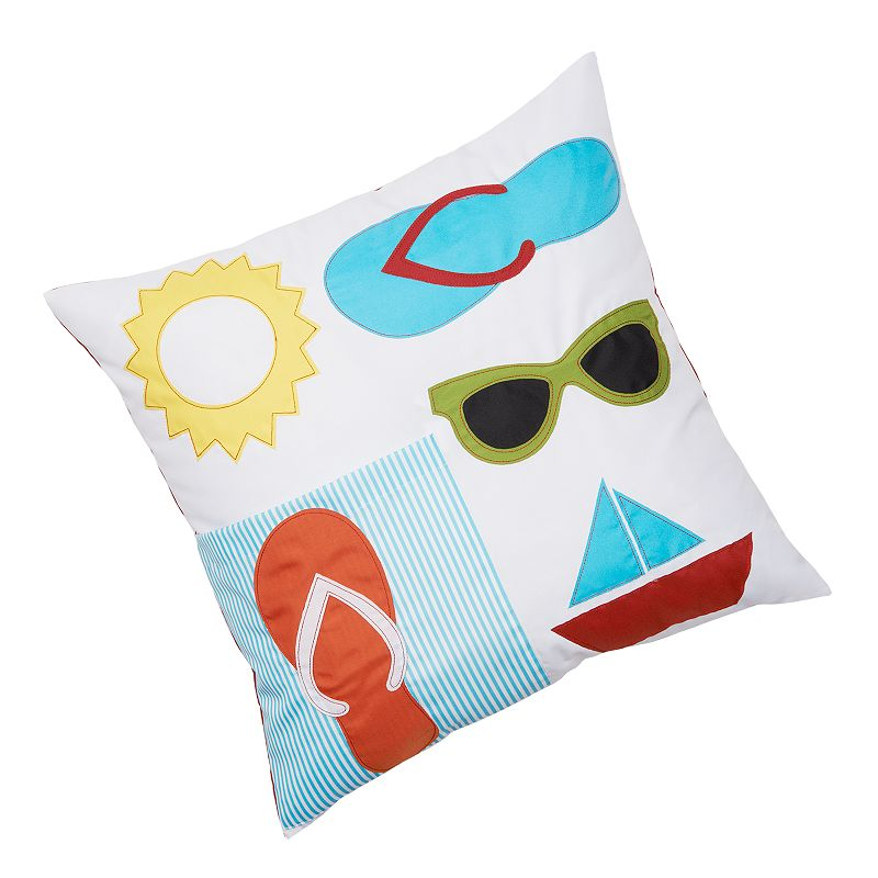 Edie, Inc. Striped Pocketed Summer Sun Indoor Outdoor Decorative Pillow