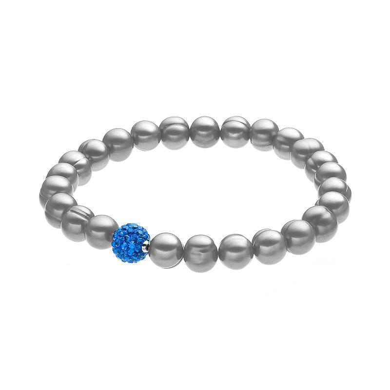 Freshwater by HONORA Dyed Freshwater Cultured Pearl and Crystal Stretch Bracelet