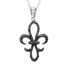 Sterling Silver 1 4-ct. T.W. Black Diamond Fleur-de-Lis Pendant