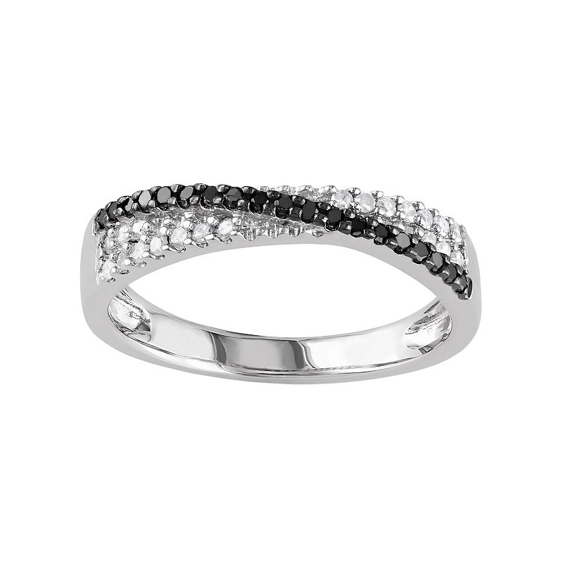 Sterling Silver 1/4-ct. T.W. Black and White Diamond Crisscross Ring