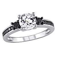 Lab-Created White Sapphire & Black Diamond Engagement Ring in Sterling Silver (1/3 ct. T.W.)