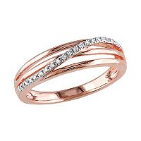 18k Rose Gold Over Silver Diamond Accent Crisscross Ring