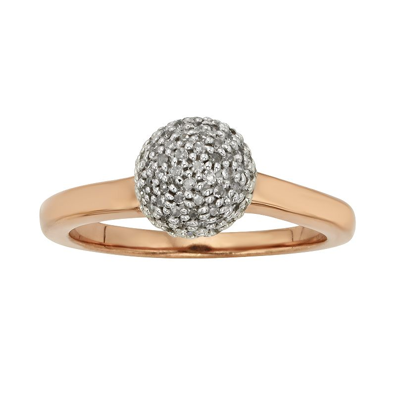 Pink Rhodium-Plated Sterling Silver 1/4-ct. T.W. Diamond Ball Ring