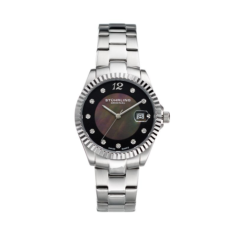 Stuhrling Original Women's Lady Clipper Pearl Watch, Grey