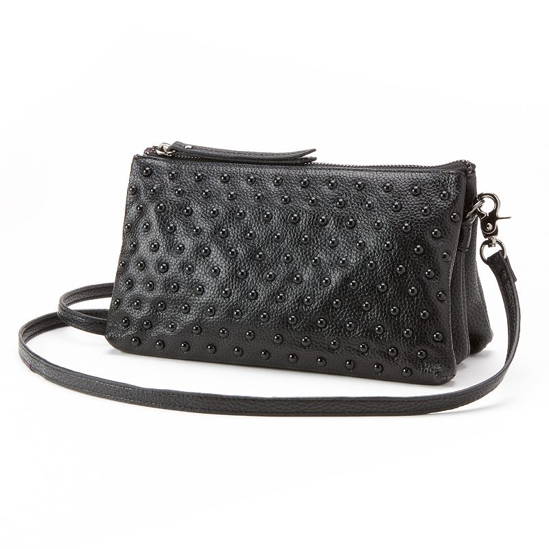 R&R Leather Beaded Convertible Crossbody Bag