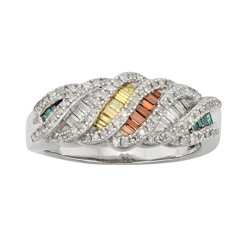 Sterling Silver 3/4-ct. T.W. Green, Red, Yellow and White Diamond Ring