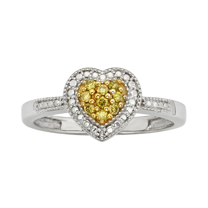 Sterling Silver 1/10-ct. T.W. Yellow and White Diamond Heart Ring
