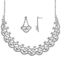 Crystal Allure Silver-Plated Necklace & Drop Earring Set