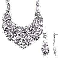 Crystal Allure Bib Necklace & Drop Earring Set