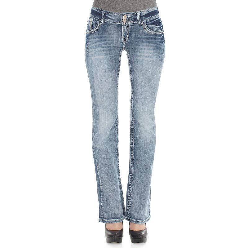 Juniors' Wallflower 2-Button Curvy Bootcut Jeans