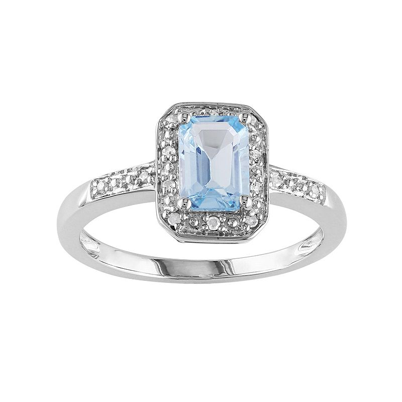 10k White Gold Aquamarine and Diamond Accent Octagonal Halo Ring