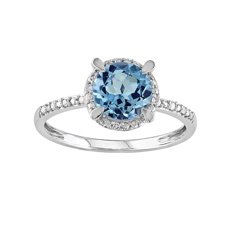 10k White Gold London Blue Topaz and Diamond Accent Halo Ring