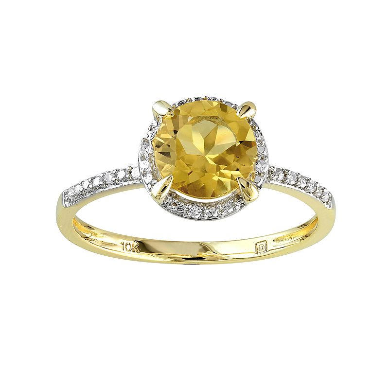 10k Gold Citrine and Diamond Accent Halo Ring