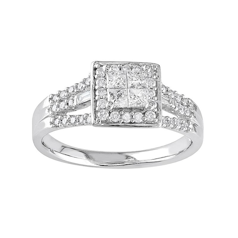 Diamond Square Halo Engagement Ring in 10k White Gold (1/2 ct. T.W.)