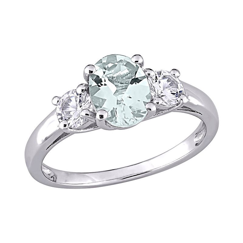 Sterling Silver Aquamarine and Lab-Created White Sapphire 3-Stone Ring
