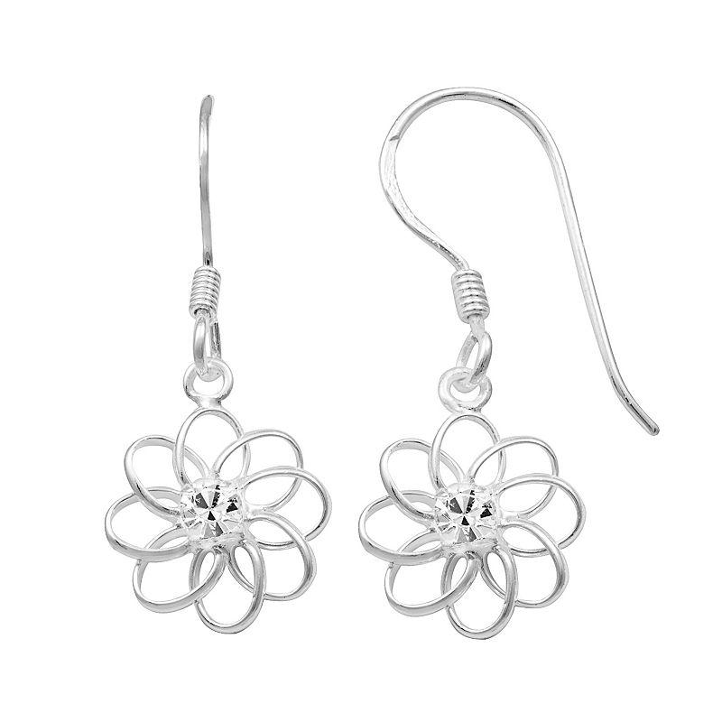 Crystal Sterling Silver Flower Drop Earrings
