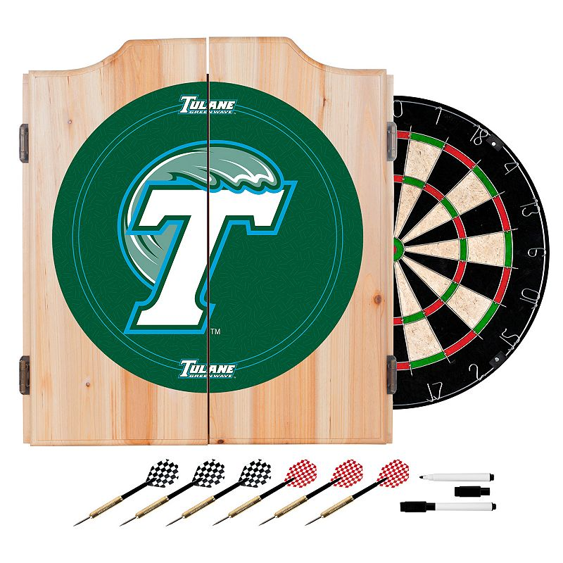 Tulane Green Wave Wood Dart Cabinet Set