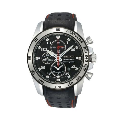 Seiko Men's Sportura Leather Chronograph Watch - SNAE65