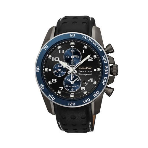 Seiko Watch - Men's Sportura Leather Chronograph - SNAF37