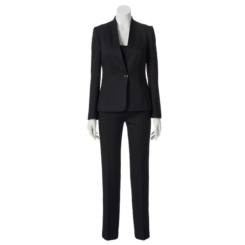 Studio Tahari-Levine Co. Pin-Striped Suit Jacket and Pants Set - Women's Plus (Black)