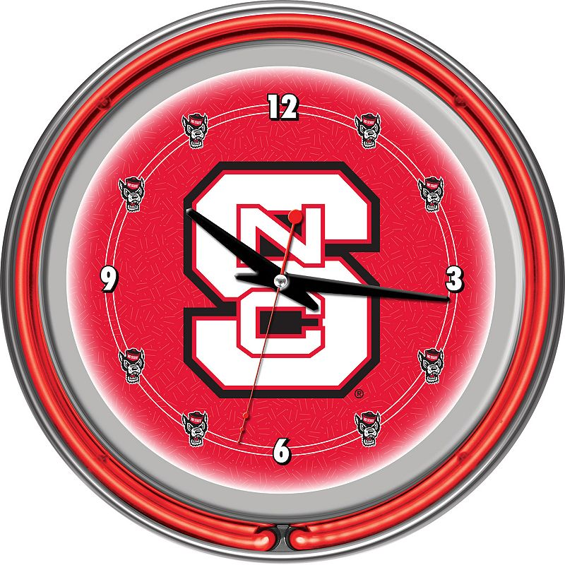 North Carolina State Wolfpack Chrome Double-Ring Neon Wall Clock