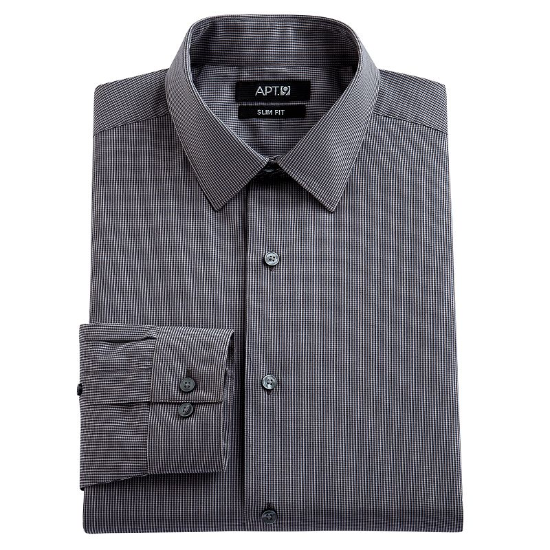 Men 39 S Apt 9 Slim Fit Murky Micro Checked Spread Collar