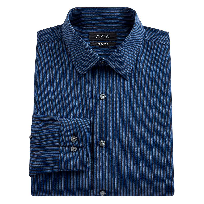 Men's Apt. 9® Extra-Slim Fit Striped Spread-Collar Dress Shirt