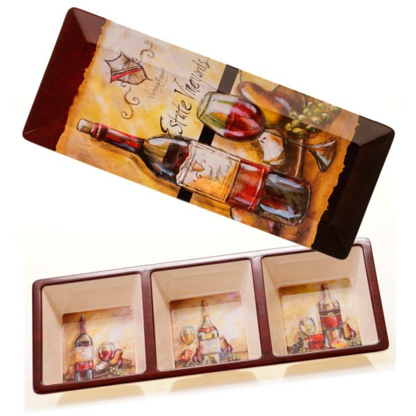 Certified International Estate Wine by Tre Sorelle Studios 2-pc. Melamine Appetizer Tray Set