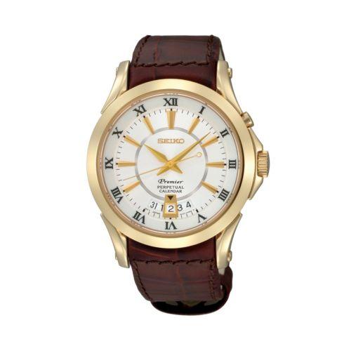 Seiko Men's Premier Leather Watch - SNQ118