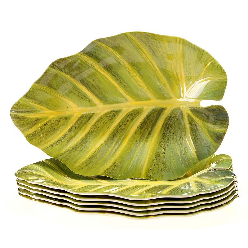 Certified International Sunset Palm by Elena Vladykina 6-pc. Melamine Leaf Plate Set