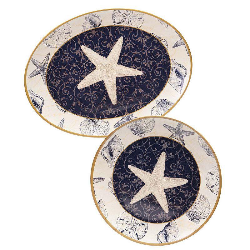 Certified International Coastal Moonlight by Pela Studio 2-pc. Melamine Platter Set