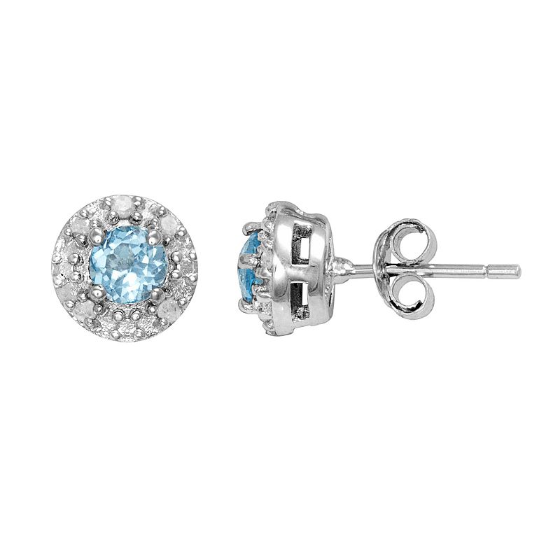 Sterling Silver Lab-Created Blue Topaz and 1/10-ct. T.W. Diamond Halo Stud Earrings