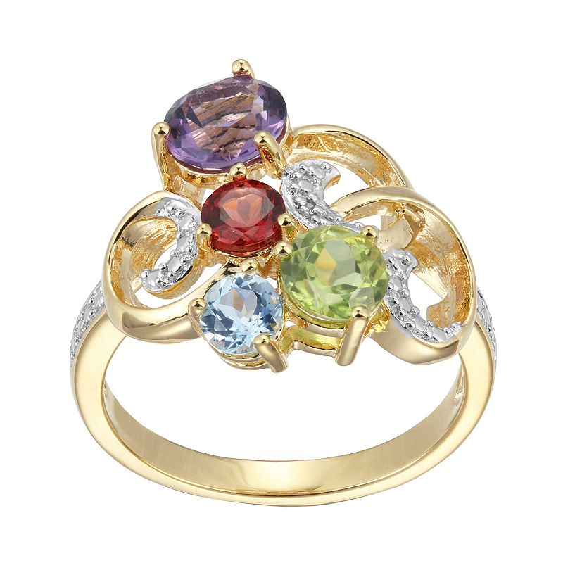 18k Gold Over Silver Gemstone and Diamond Accent Scrollwork Ring