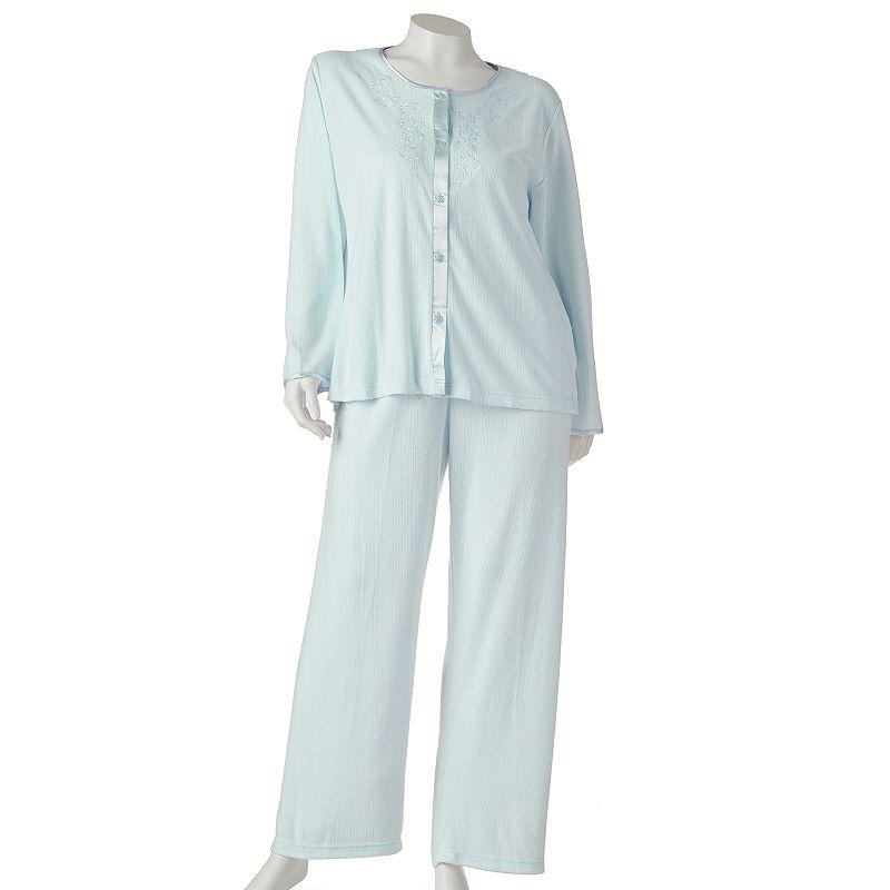 Miss Elaine Essentials Pajamas: Honeycomb Cable Pajama Set - Women's Plus Size (Blue)