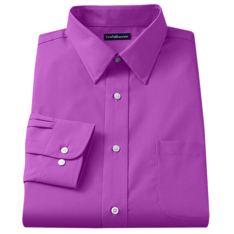Men's Croft & Barrow® Fitted Solid Broadcloth Point-Collar Dress Shirt