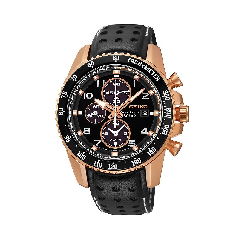 Seiko Men's Leather Solar Chronograph Watch - SSC274