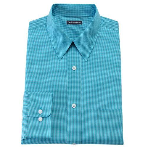 Men's Croft & Barrow® Fitted Mini Checkerboard Point Collar Dress Shirt