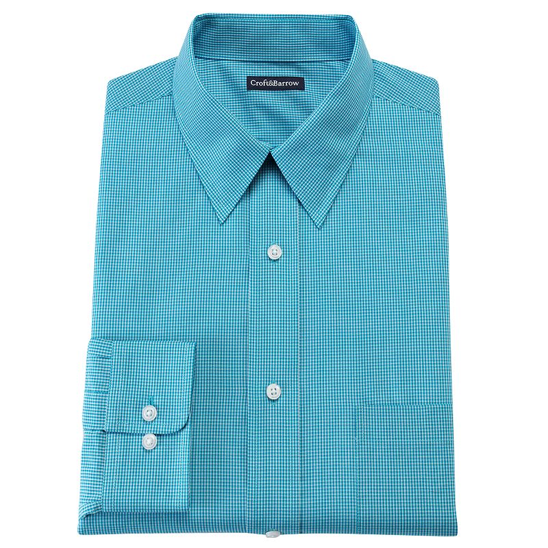 Men's Croft & Barrow® Fitted Mini Checkerboard Point Collar Dress Shirt