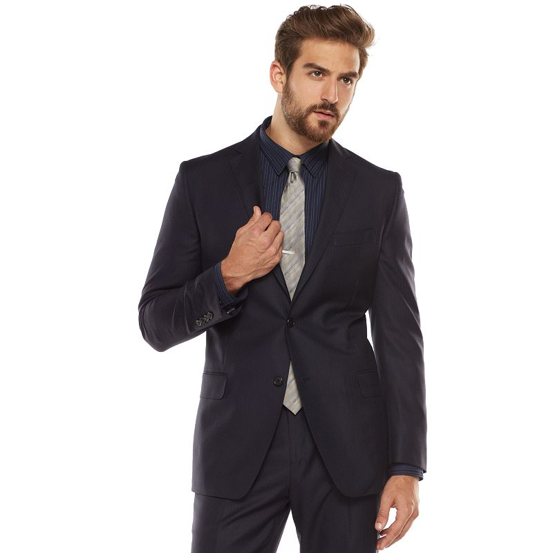 Men's Marc Anthony Slim-Fit Herringbone Navy Suit Jacket