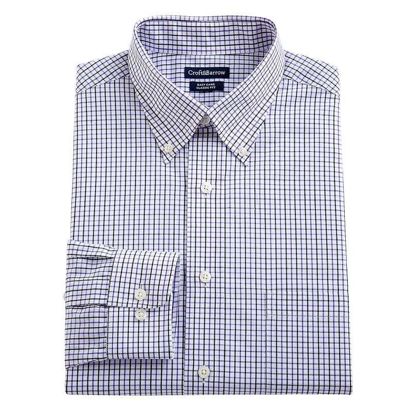 Big & Tall Croft & Barrow® Fitted Grand Tattersall Plaid Easy-Care Button-Down Collar Dress Shirt