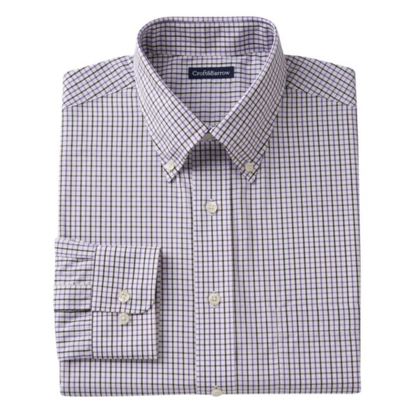 Men's Croft & Barrow® Fitted Grand Tattersall-Plaid Easy-Care Button-Down Collar Dress Shirt