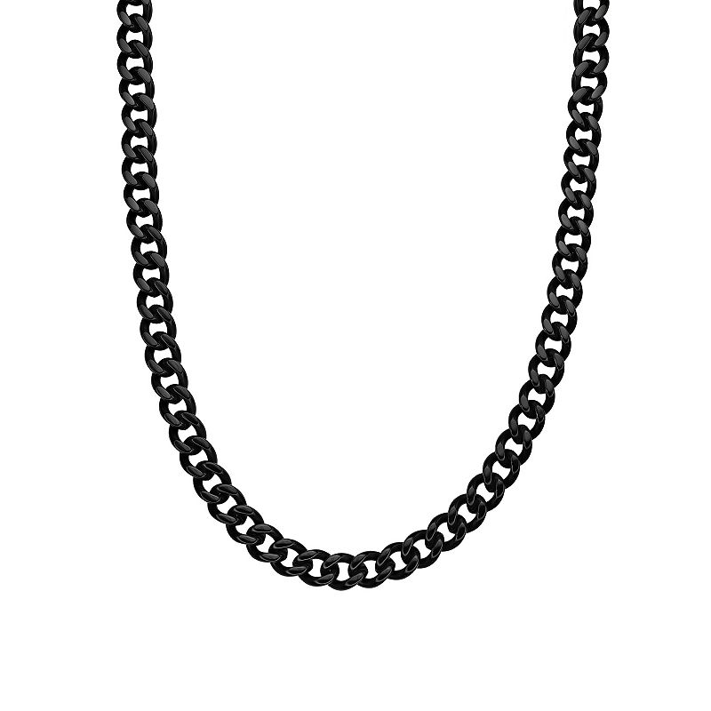 Black Ion-Plated Stainless Steel Curb Chain Necklace - 22 in. - Men