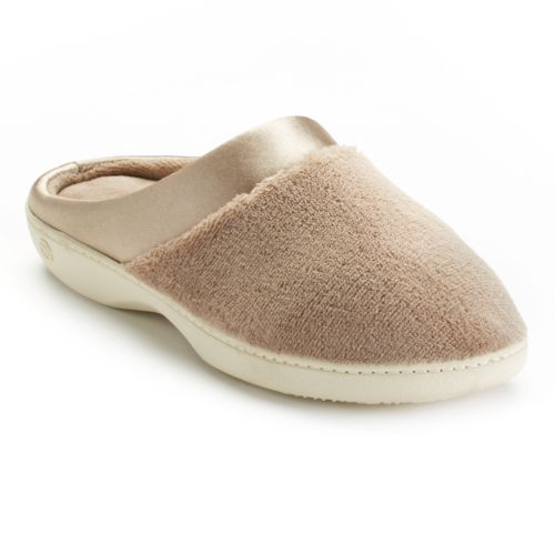 Isotoner Microterry Satin Clog Slippers - Women