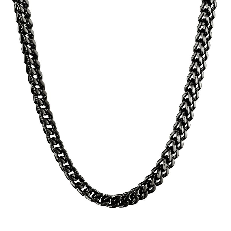Black Ion-Plated Stainless Steel Foxtail Chain Necklace - 22 in. - Men