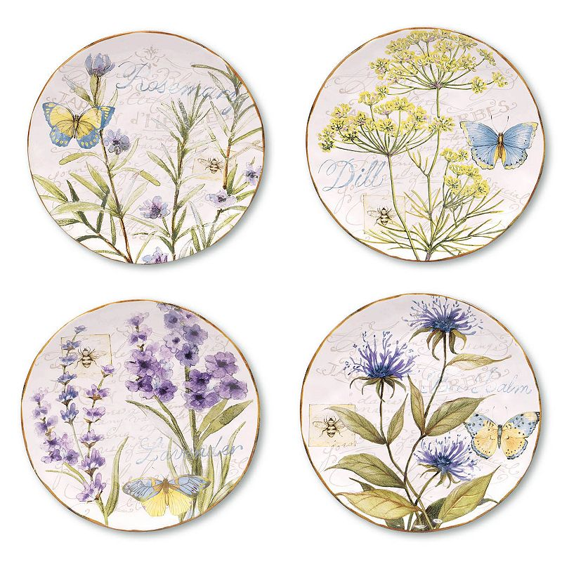 Certified International Herb Garden 4-pc. Dessert Plate Set
