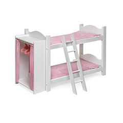 Badger Basket Doll Bunk Bed with Storage Armoire by