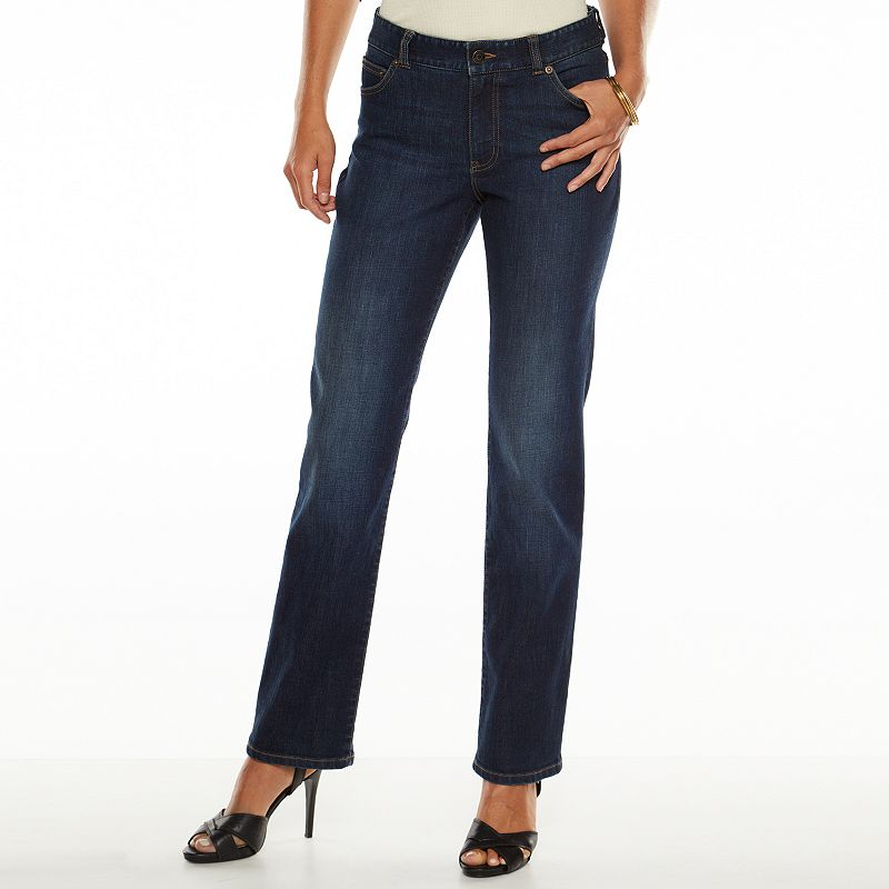 Women's Chaps Faded Curvy Fit Straight-Leg Jeans