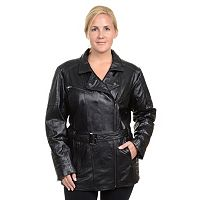 Plus Size Excelled Asymmetrical Leather Jacket