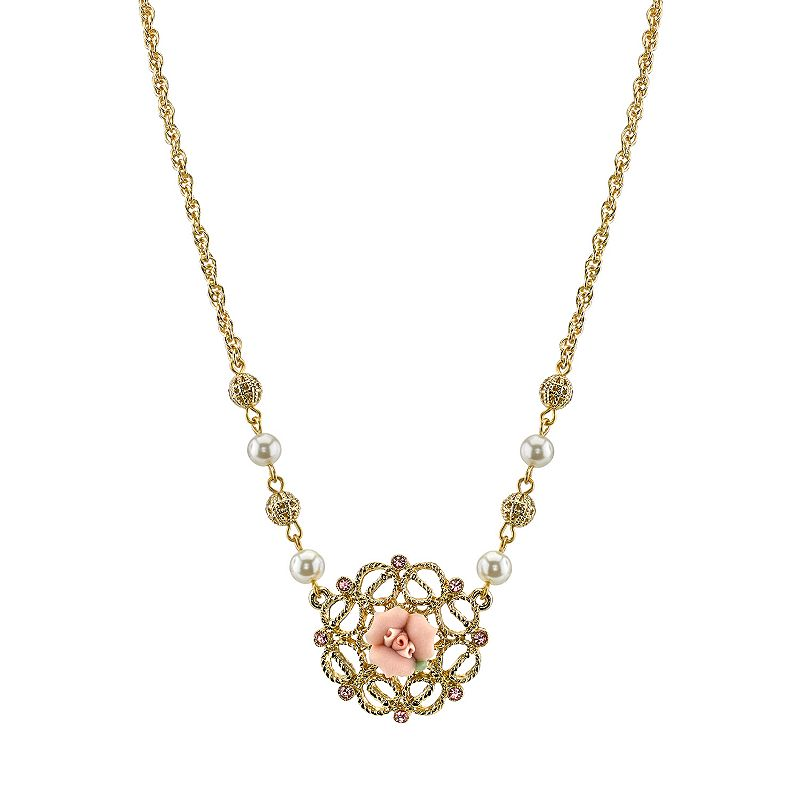 1928 Bead and Porcelain Rose Necklace
