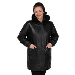 Womens Excelled Hooded Leather Walker Coat by